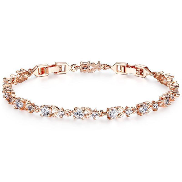 Rose Gold Color Chain Bracelet - AAA Cubic Zircon Crystal Jewelry