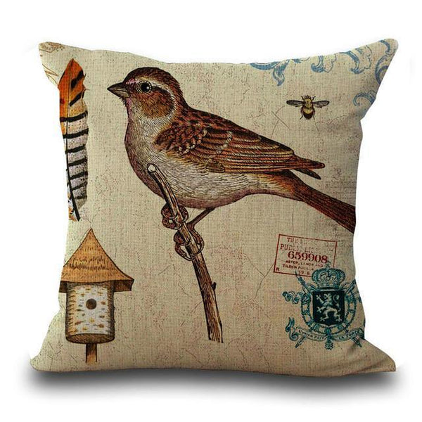 Bird Throw Pillow Case (Vintage Art Painting Pillowcase /Cushion Cover)