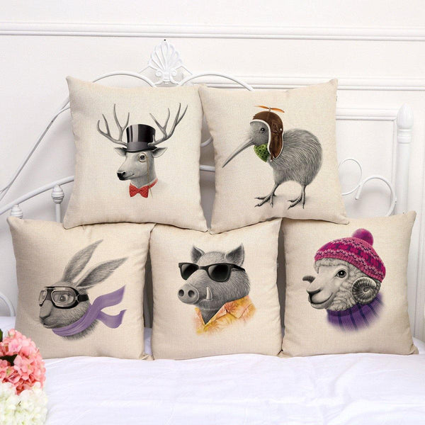 Designer Throw Pillow Case /Cushion Cover (Rabbit Sheep Moose Chick Pig)