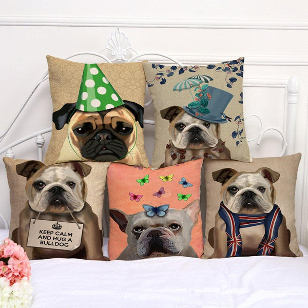 Bulldog Throw Pillow Cases /Dog Cushion Covers (Pet Puppy Pillowcases)