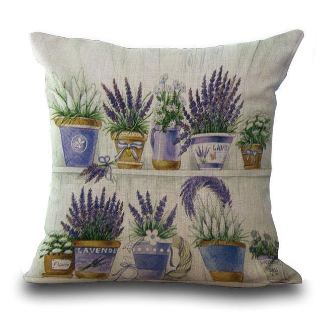 Lavender Throw Pillow Cases /Flower Cushion Covers (Vintage Country Style)