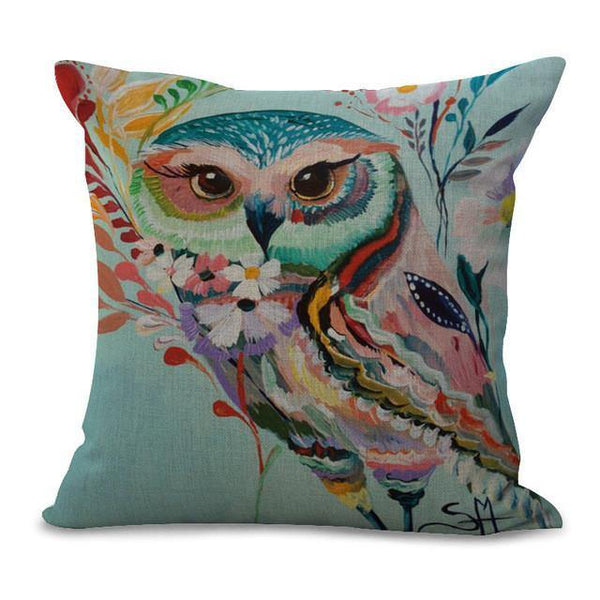 Animal Throw Pillow Cases /Cushion Covers (Owl Elephant Deer Cow Zebra)