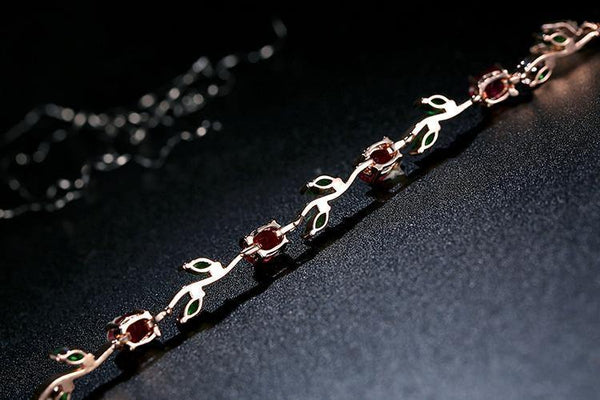 Rose Gold Color Leaf Chain Bracelet with Multi-Color AAA Zircon