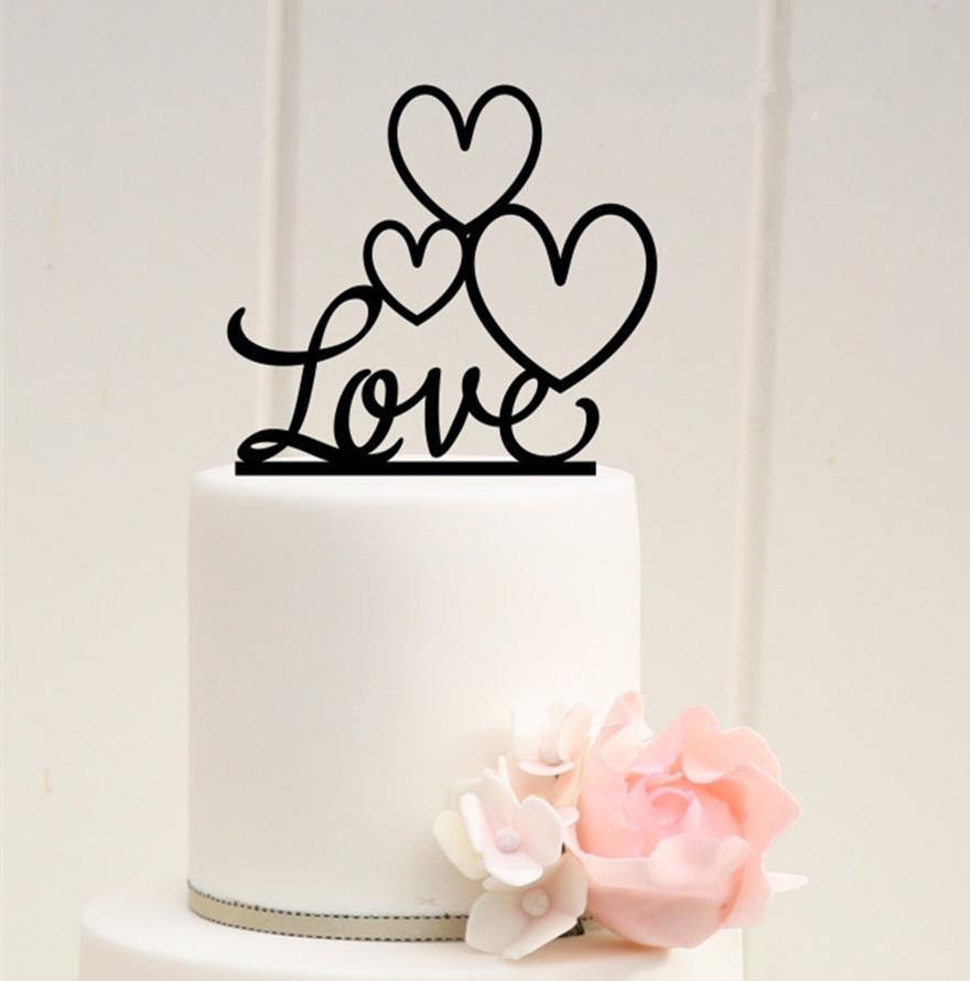 Love Wedding Cake Topper Heart Shape Engagement Bridal Shower