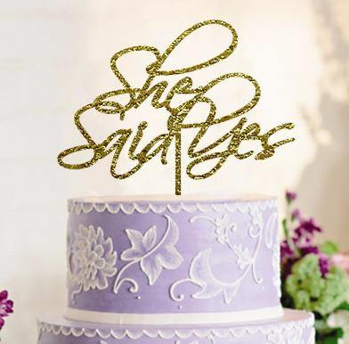 She Said Yes Cake Toppers (Wedding /Engagement /Bridal Shower) [Gold]