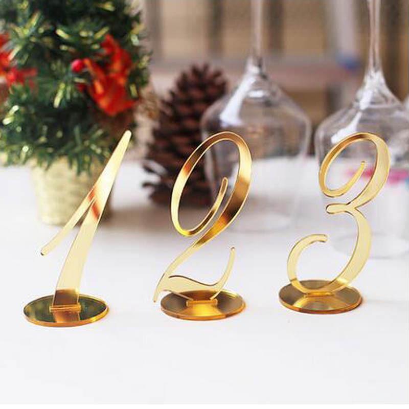 Wedding Table Numbers (Gold) [Simple &Elegant /Romantic /Beautiful] - CHARMERRY