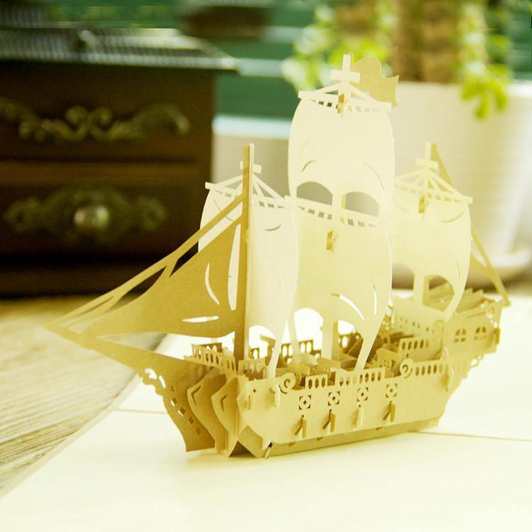 Boat /Ship Greeting Card Papercraft (Bon Voyage /Travel /Have A Good Trip) - CHARMERRY
