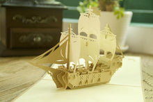 Load image into Gallery viewer, Boat /Ship Greeting Card Papercraft (Bon Voyage /Travel /Have A Good Trip) - CHARMERRY