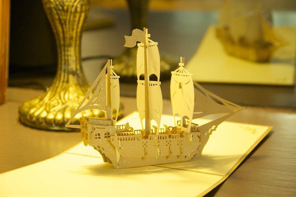 Boat /Ship Greeting Card Papercraft (Bon Voyage /Travel /Have A Good Trip)