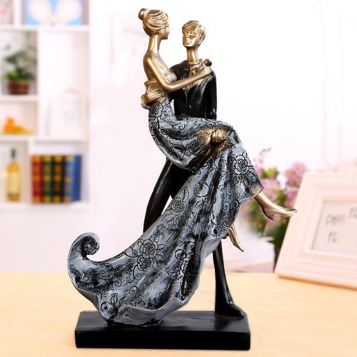 Wedding Cake Topper Figure -Groom Lifting Bride Gazing Lovingly Figurine) - CHARMERRY
