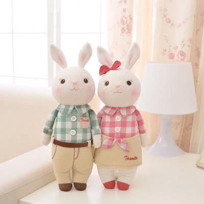 "Stuffed Toy /Plush Gift for Wedding Valentine Anniversary Engagement [14"" /Plaid Shirt]"