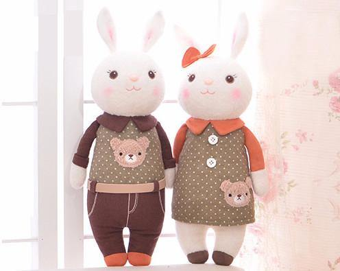 "Stuffed Toy /Plush Gift for Valentine Anniversary Wedding Engagement [14"" /Couple Matching Outfits]"