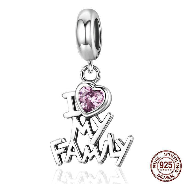 I Love My Family & Heart Zircon Charm/ Pendant - 925 Sterling Silver