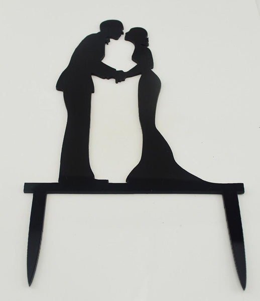 Wedding Cake Topper (Romantic Bride Groom Holding Hand & Rubbing Noses)
