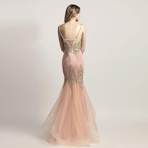 Wedding Dresses - Luxury Crystal Beaded Lace Appliques Evening Gowns