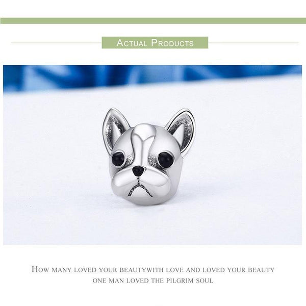 Bulldog Animal Charm - 925 Sterling Silver