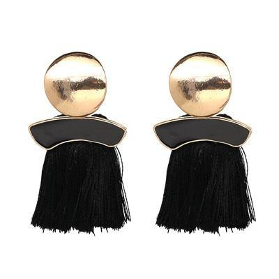 Metal Discs & Tassel Statement Earrings (10 Colors)