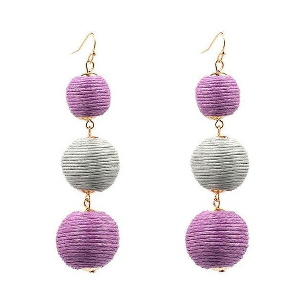 Pop Style Triple Ball Drop Earrings