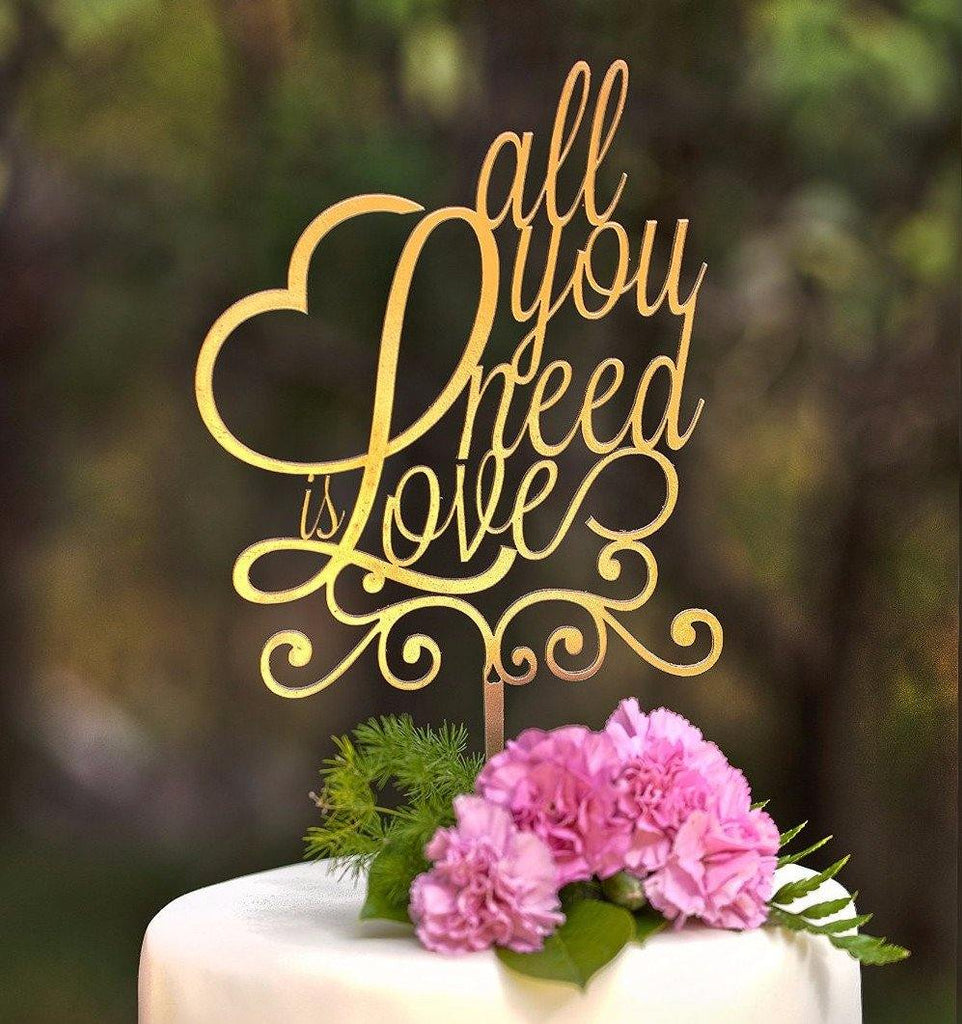 Cake Topper for Wedding Anniversary Engagement (Love Message /Gold)