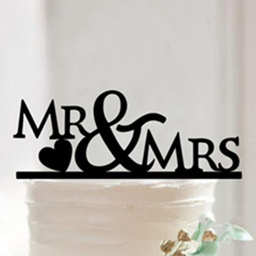 Cake Topper for Wedding Anniversary Engagement (Mr Mrs /Love Heart Shape)