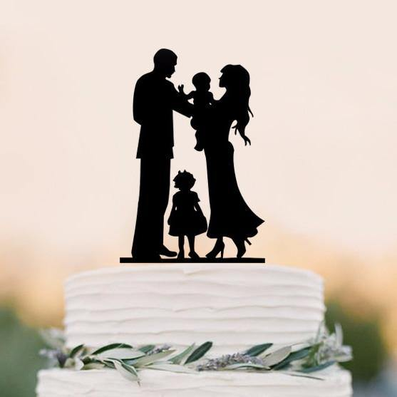 Wedding Cake Topper (Sweet Home Family Love /Little Girl Daughter Baby)[Bride, Groom & 2 Kids]