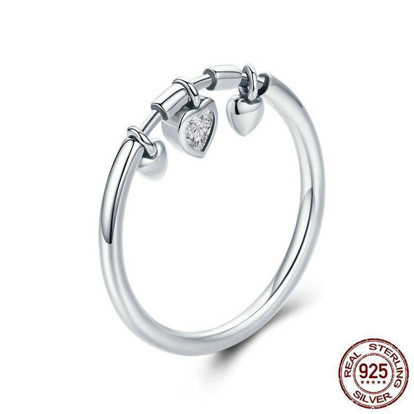 Glittering Heart Clear CZ Angel Ring - 925 Sterling Silver