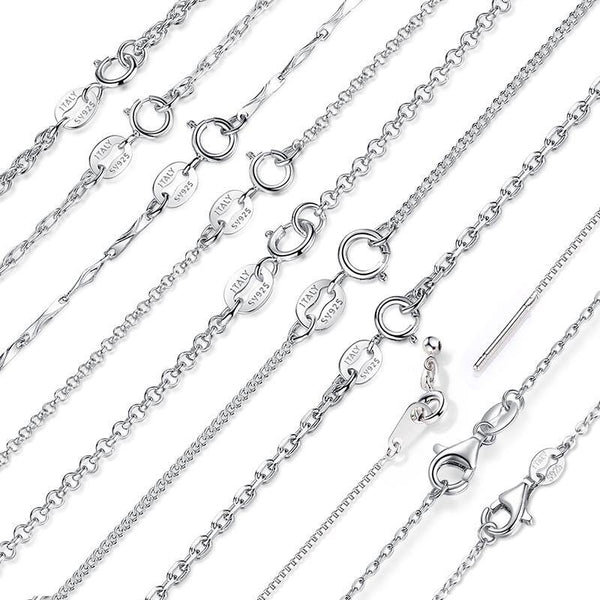 Lobster Clasp Adjustable Necklace Chain - 925 Sterling Silver (10 Options)
