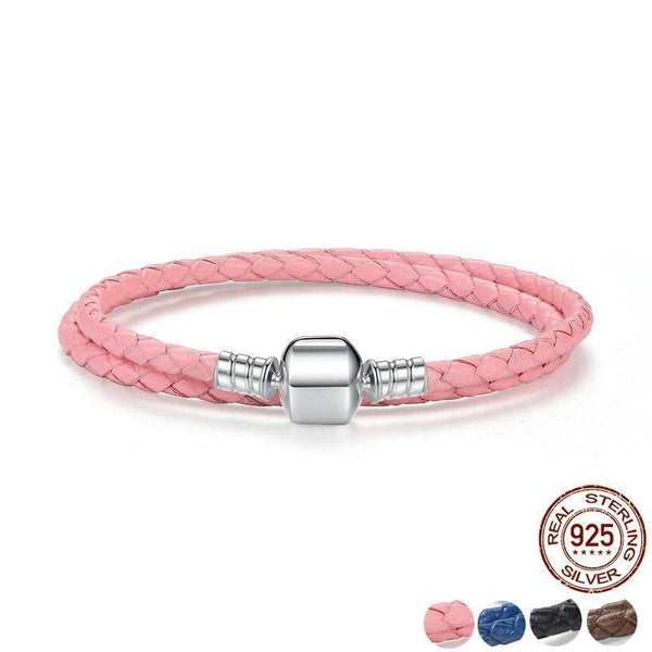 Double Woven Leather Bracelet - 925 Sterling Silver Clasp