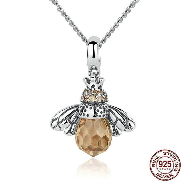 Lovely Orange Bee Animal Necklace - 925 Sterling Silver