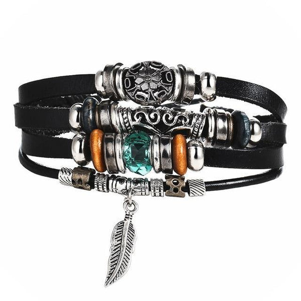 Leather Bracelets | Street Style Biker Southwest Rock`n Roll Outfit Additions & Accessories CHARMERRY A08