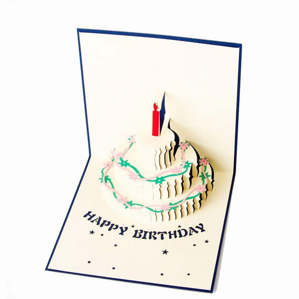 Happy Birthday Card -3D Pup Up Greeting Card /Birthday Cake Papercraft