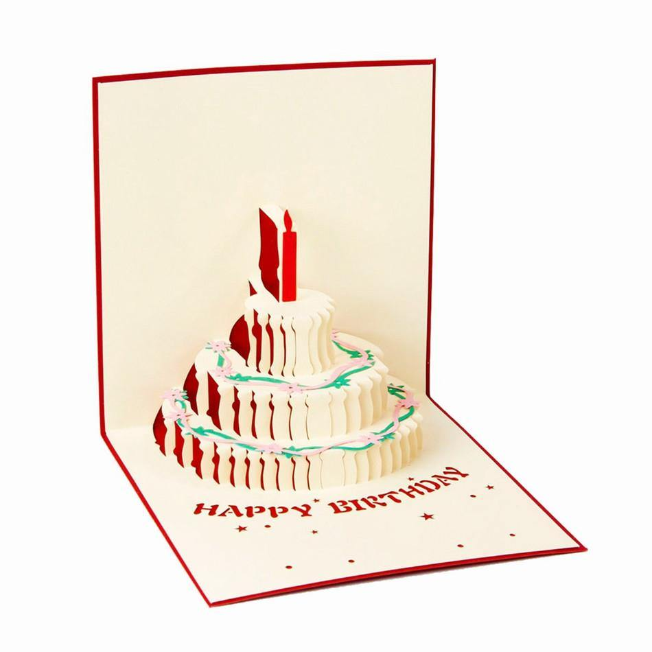 Happy Birthday Card 3D Pup Up Greeting Card Birthday Cake – Papercraft Birthday Card