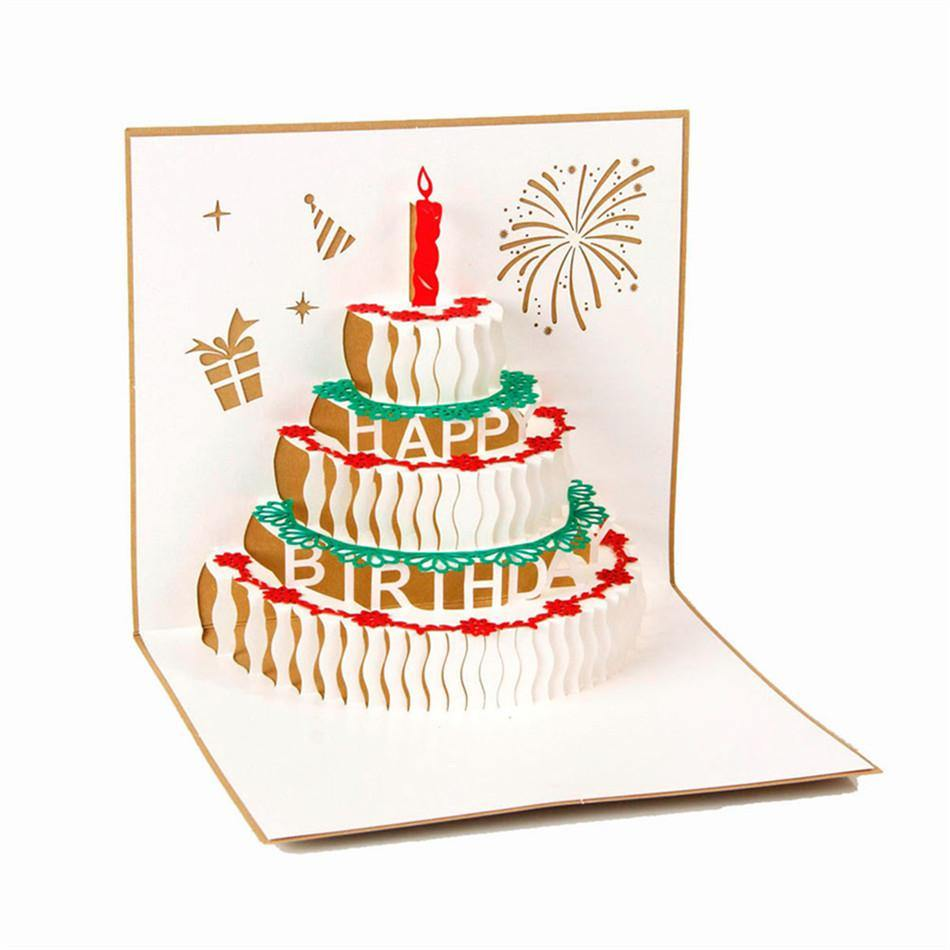 Happy Birthday Card -Birthday Cake Papercraft /3D Pup Up ...