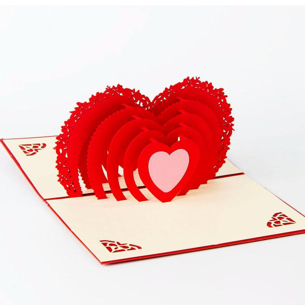 3D Pop Up Greeting Card /Invitation (Valentine /Wedding /Love Heart Shape)