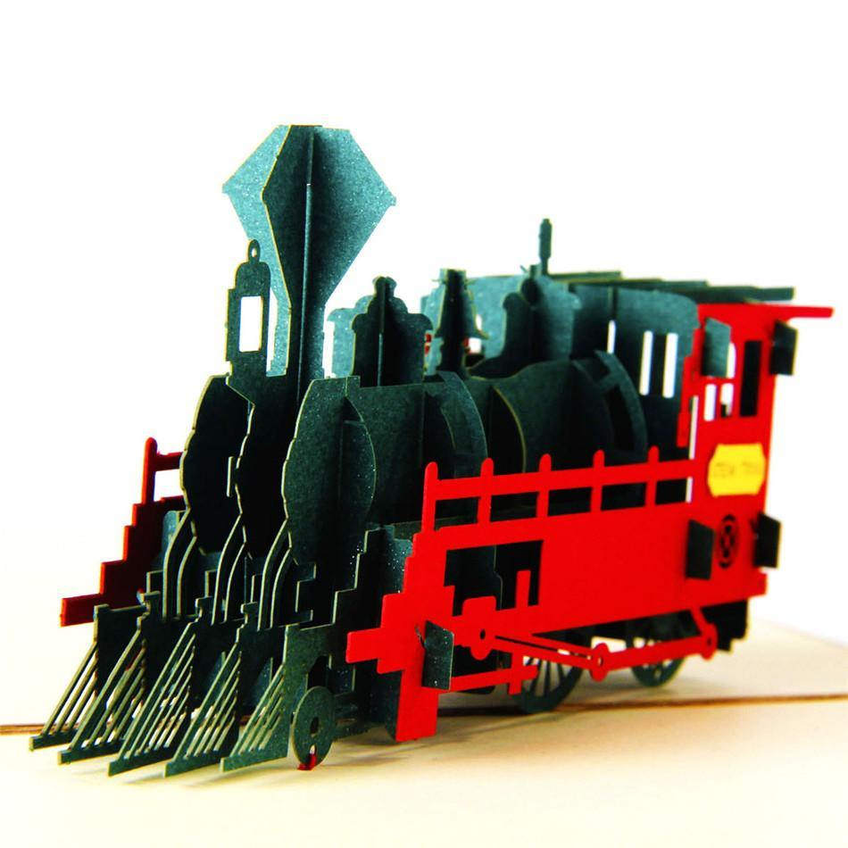 3D Birthday /Gift /Greeting Card for Railway Train Lover, Kid, Boy, Son - CHARMERRY