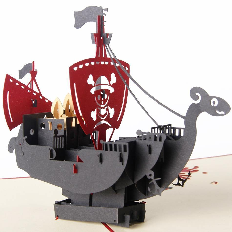 Pirate Ship Birthday &Greeting Card for Boy Kid Child (Boat Papercraft) - CHARMERRY