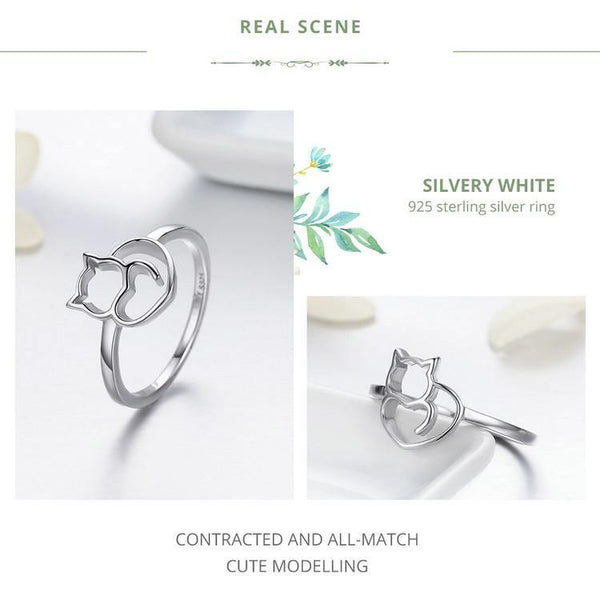 Naughty Cat & Heart Tail Ring - 925 Sterling Silver