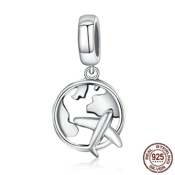 Airplane & Map Traveling Charm - 925 Sterling Silver