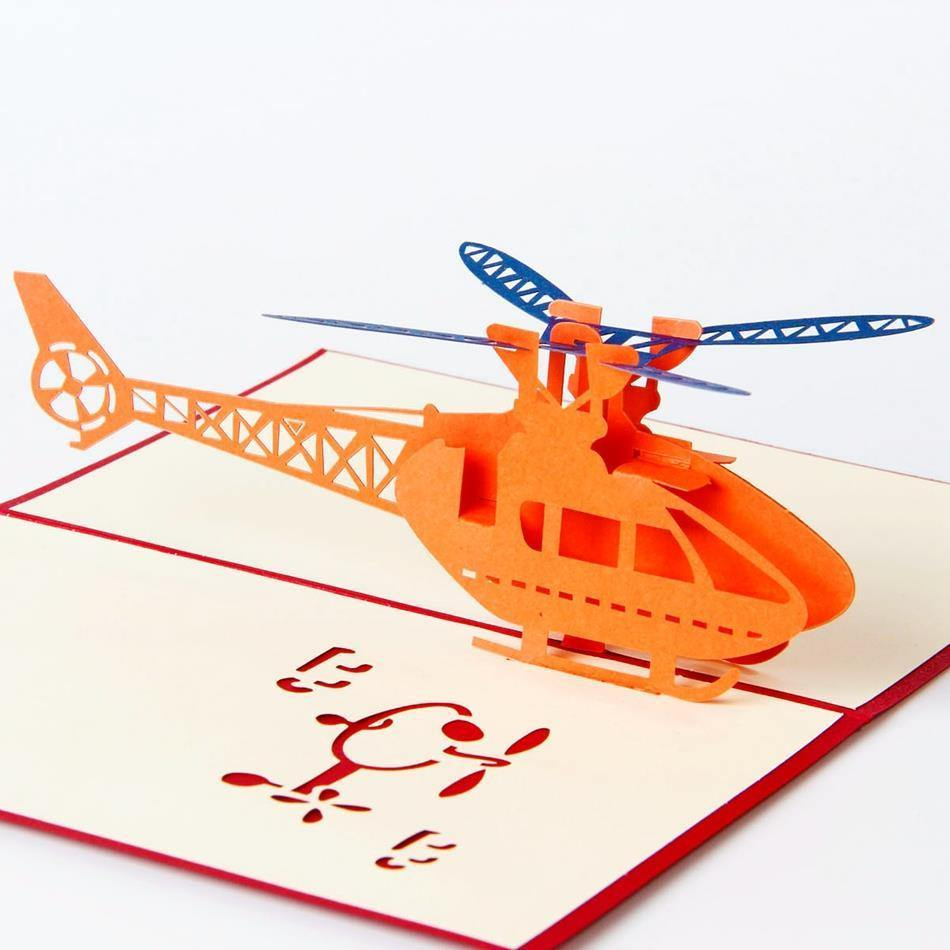 Helicopter Birthday Card /Greeting Card (Postcard /Papercraft /3D PopUp) - CHARMERRY