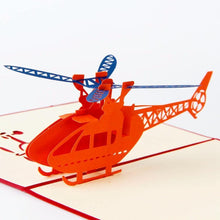 Load image into Gallery viewer, Helicopter Birthday Card /Greeting Card (Postcard /Papercraft /3D PopUp) - CHARMERRY