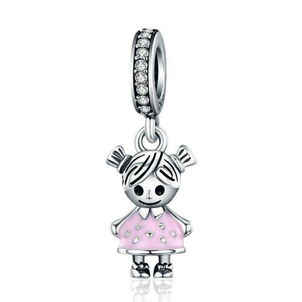 Little Girl & Boy Charm/ Pendant - 925 Sterling Silver