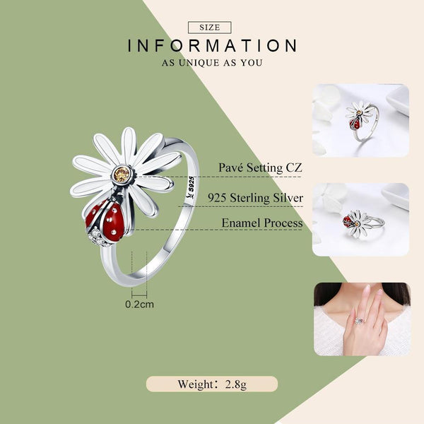 Flower and Ladybug Wonderland Finger Rings - 925 Sterling Silver