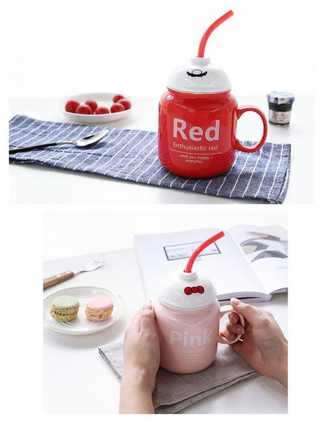Cute Colorful Mug (with Spoon Staw & Lid)