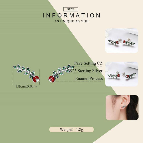 Insect Red Ladybug in Tree Leaves Earrings - 925 Sterling Silver