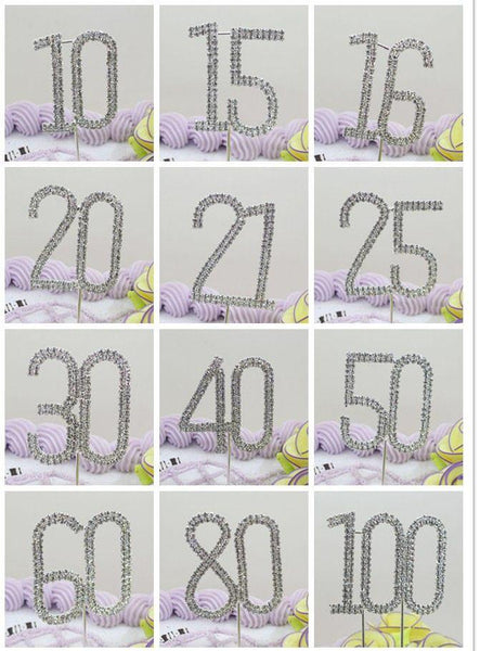 60 Sixty Number Crystal Rhinestone /60th Anniversary Cake Topper (FAUX Diamond Diamante)