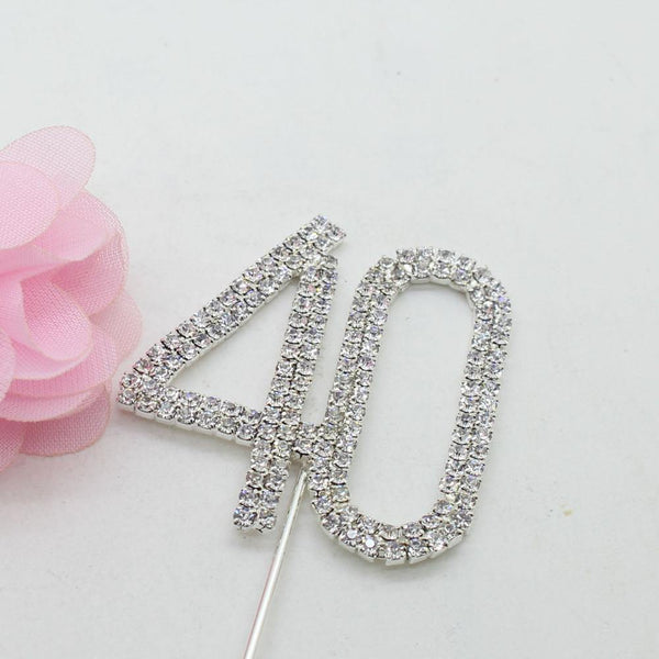 40 Number Crystal Rhinestone /40th Wedding Anniversary Cake Topper (FAUX Diamond Diamante)