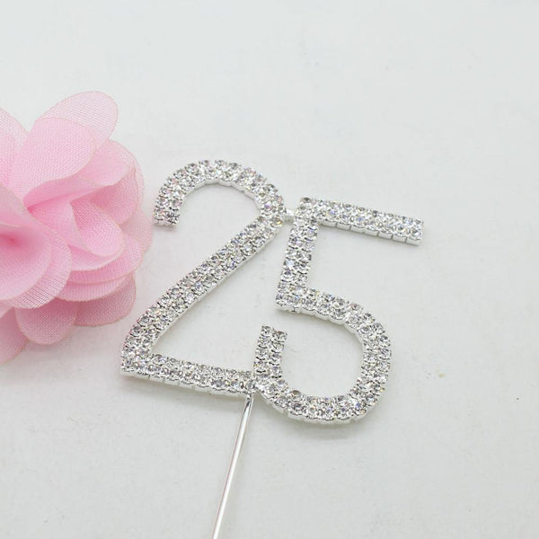 25 Number Crystal Rhinestone /25th Anniversary Cake Topper (FAUX Diamond /Silver Diamante)