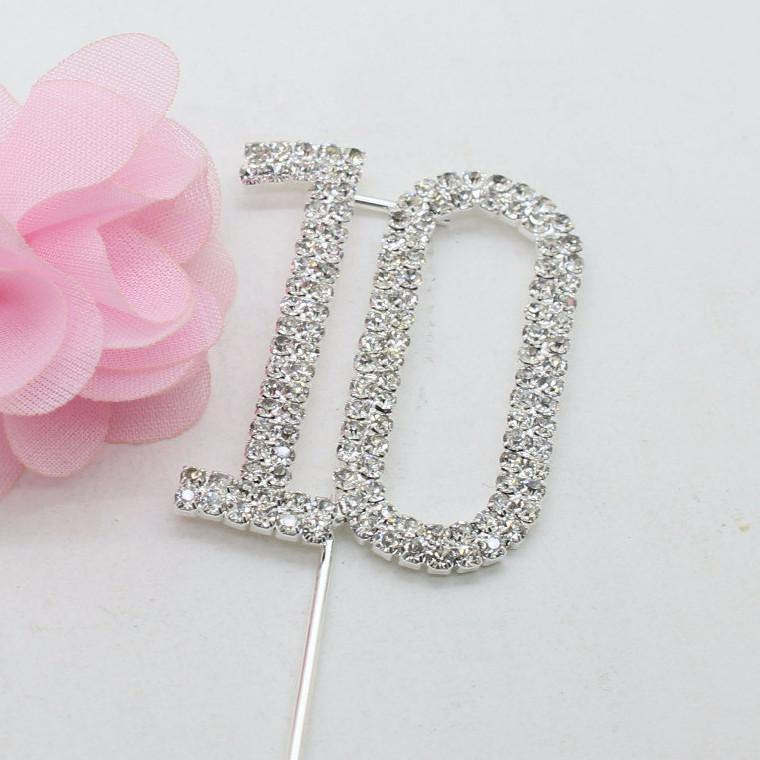 10 Ten Number Crystal Rhinestone /10th Anniversary Cake Topper (FAUX Diamond Diamante)