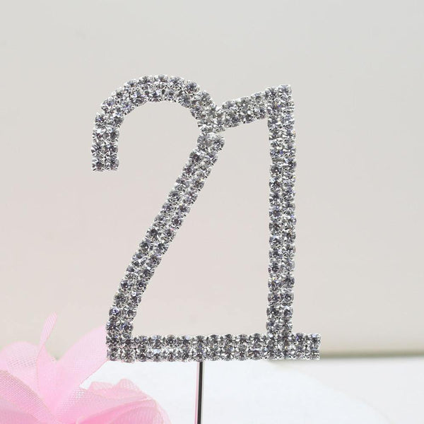 21 Twenty-One Number Crystal Rhinestone /21st Anniversary Cake Topper (FAUX Diamond Diamante)