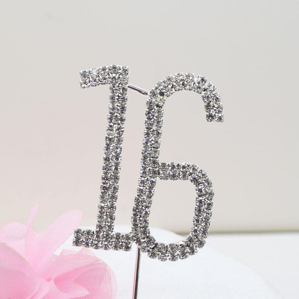 16 Sixteen Number Crystal Rhinestone /16th Anniversary Cake Topper (FAUX Diamond Diamante)